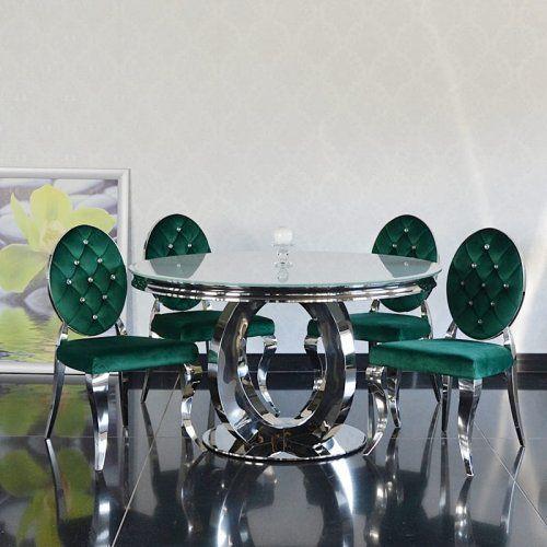Bellacasa Stół glamour dallas ii okrągły - stal szlachetna blat szklany nowoczesny