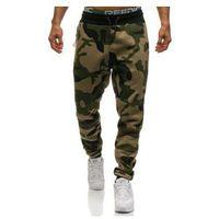 Spodnie męskie dresowe joggery moro-zielono-żółte denley 0801, Athletic