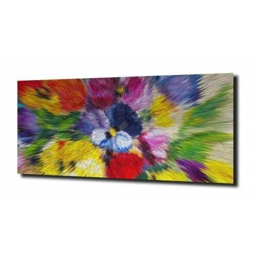 Zahartowani.pl Obraz na szkle kwiaty abstrakcja kolorowe 100x80