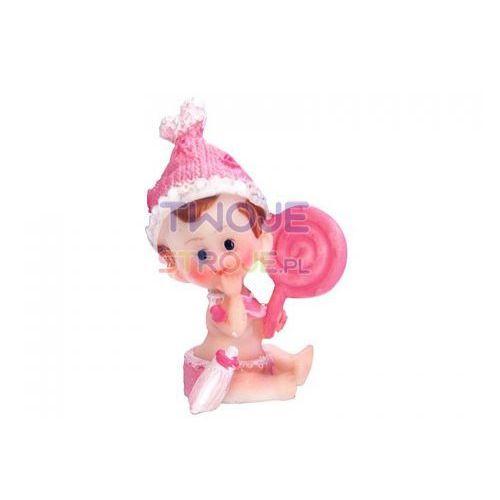 Twojestroje.pl Figurka dziewczynka z lizakiem róż 5,5cm 1szt