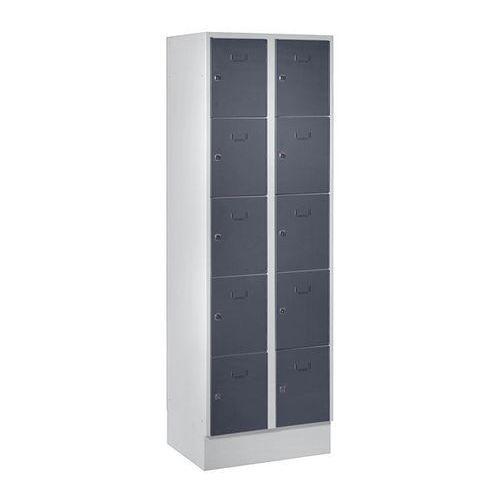 System zamykanych schowków z garderobami, 10 przegród o szer. 300 mm, bazaltowo-