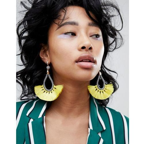 Pieces statement tassel earrings - multi