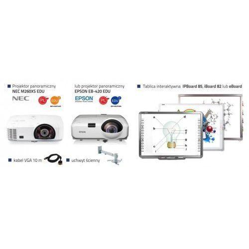 Profesjonalny zestaw interaktywny IPBoard 85 DUAL + projektor krótkoogniskowy Epson EB-420 EDU lub NEC M260XS EDU + uchwyt ścienny + kabel VGA 10m