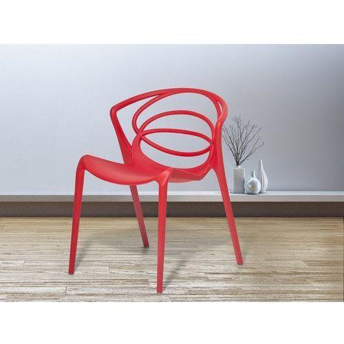 Beliani Krzesło do jadalni czerwone bend