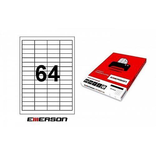 Etykiety samoprzylepne 48,5x16,9mm białe nr 001, 100ark. a4 marki Emerson