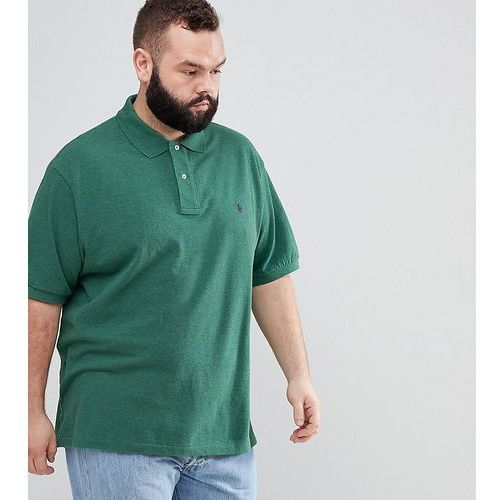 Polo Ralph Lauren Big & Tall pique polo with player logo in green marl - Green, kolor zielony