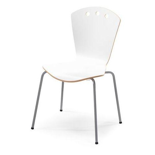 Aj Stylowe białe krzesło ze stelażem w kolorze aluminium