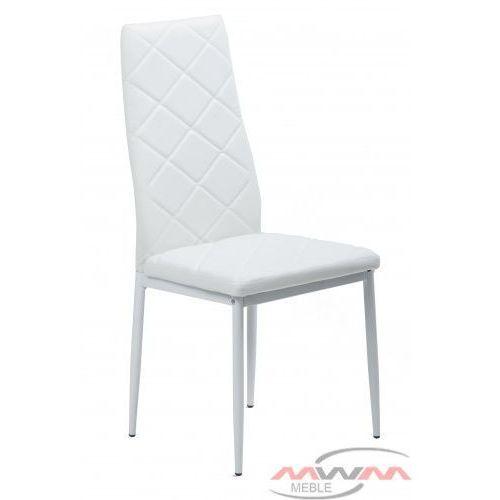 Meblemwm Krzesło tapicerowane do salonu jadalni k1 białe romb