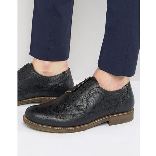 Red tape brogues in black milled leather - black