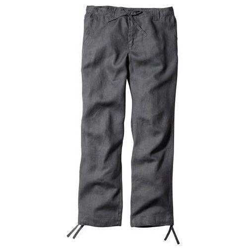 Spodnie lniane regular fit straight dymny szary marki Bonprix