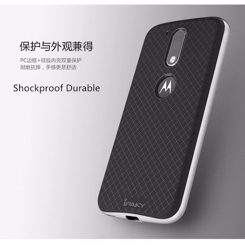 Etui iPaky Premium Hybrid Moto G4 Silver + Szkło