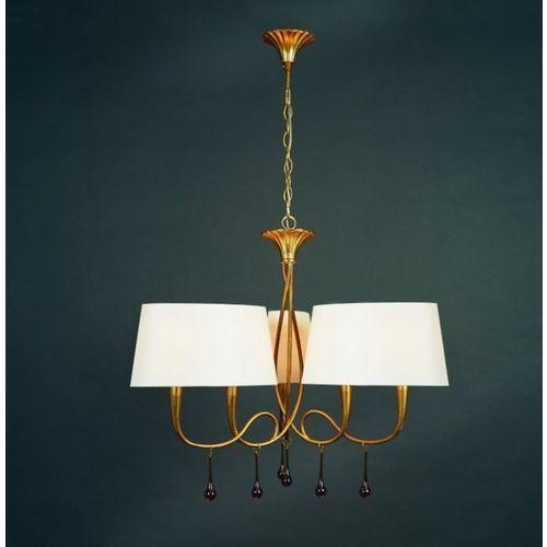 Lampa wisząca paola 6l złota z kremowymi abażurami, 3540 marki Mantra