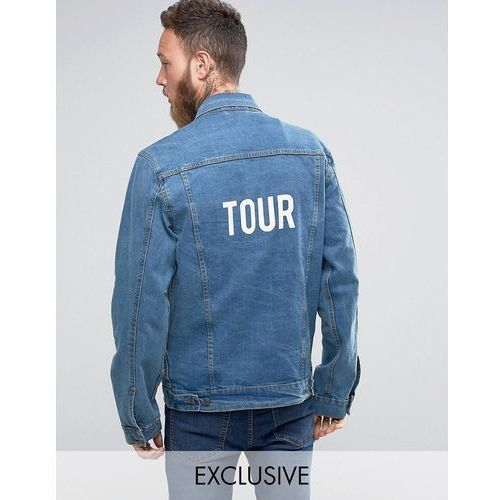 Reclaimed vintage  inspired oversized denim jacket with tour back print - blue