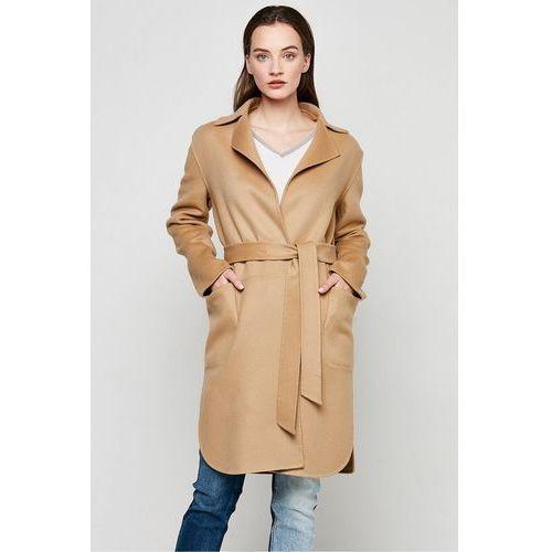 Kamelowy płaszcz double face z kaszmiru i wełny - Patrizia Aryton, 1 rozmiar
