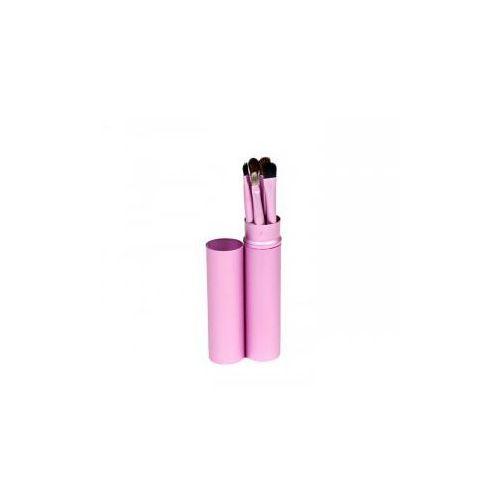 Pędzle Do Make Up Komplet 5 Szt. Pakowane W Tubę Kolor Różowy