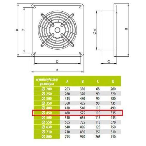 Ścienny Wentylator Wyciągowy Przemysłowy Średnice od 200 do 630 mm Bardzo Wydajny Arok Średnice: 450