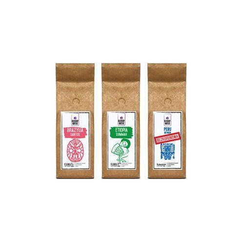 Blueberry roasters Zestaw kaw ziarnistych - brazylia, etiopia, peru bezkofeinowa-3x250g