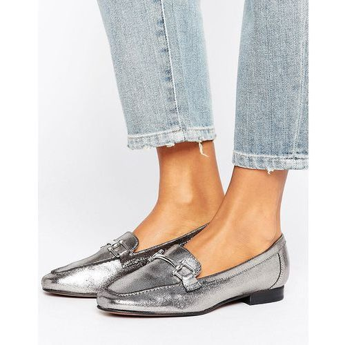 leather metal detail loafer - silver marki New look