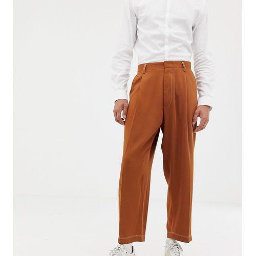 wide leg smart trousers in camel with pleats - brown marki Noak