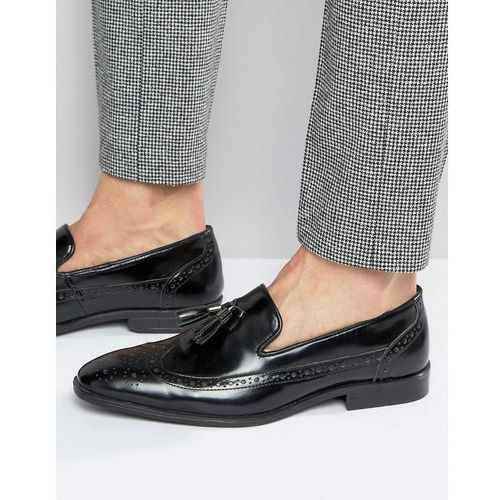 Asos brogue loafers in black leather with tassel - black