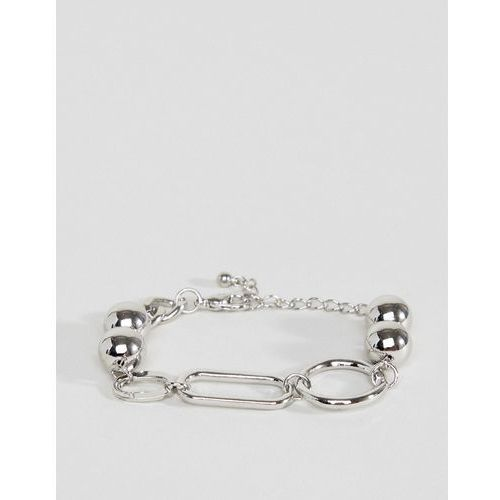 design chain bracelet with oversized link and ball detail in silver - silver marki Asos
