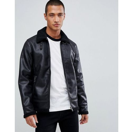 Tom tailor faux suede biker jacket with shearling - black