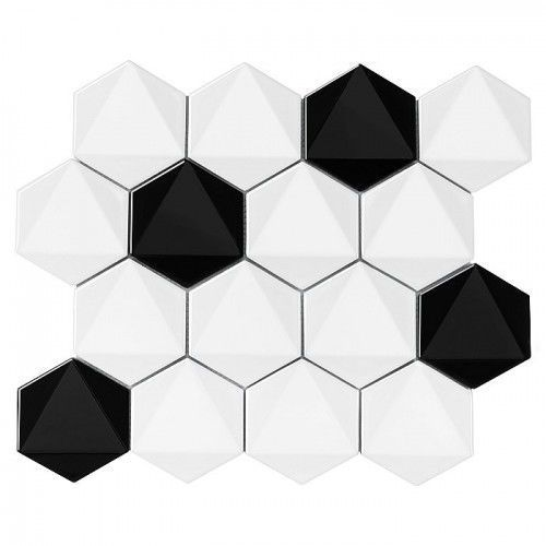 DUNIN mozaika ceramiczna HEXAGONIC B&W MIX 74, HEXAGONIC B&W MIX 74
