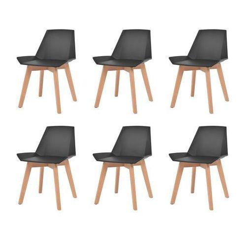 Komplet 6 krzeseł, nogi z drewna i czarne, plastikowe siedziska, kolor czarny