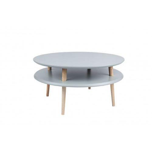 Stolik kawowy drewniany okrągły RAGABA UFO niski - kolor ciemnoszary/ kolor nóg naturalny buk
