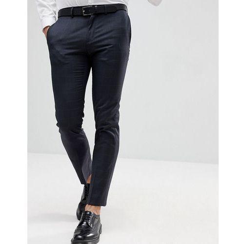 Burton menswear skinny check smart trousers in dark grey - grey