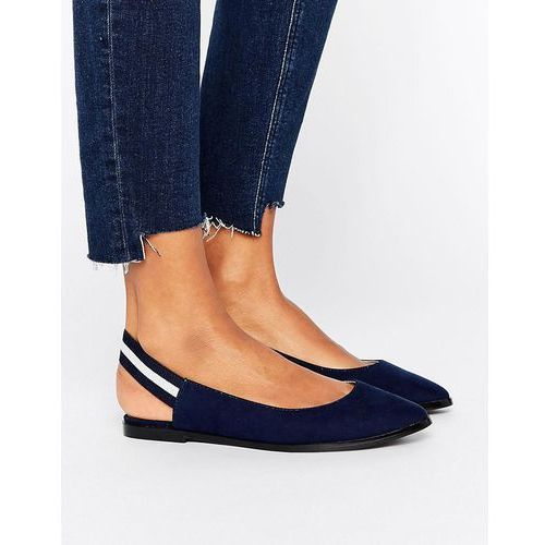 elastic stripe slingback shoe - navy, New look