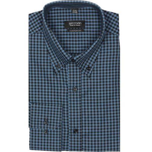 Koszula croft 2174 długi rękaw custom fit granatowy marki Recman