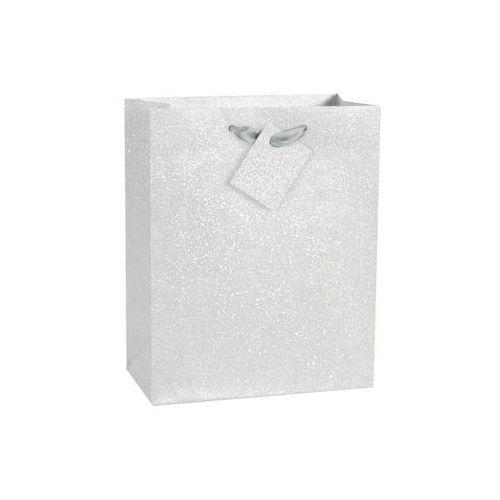 Brokatowa torebka prezentowa duża - srebrna - 1 szt. marki Unique