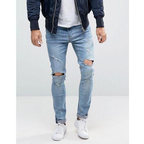 Brave Soul Distressed Skinny Jeans - Blue, skinny