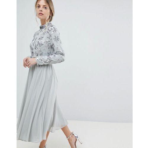 floral embellished bodice long sleeve midi skater dress - blue, Asos