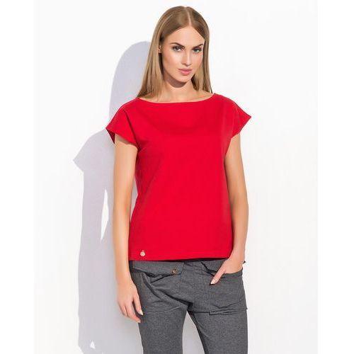 5e1ec9143d Makadamia Czerwona codzienna bluzka dzianinowa z krótkim rękawem