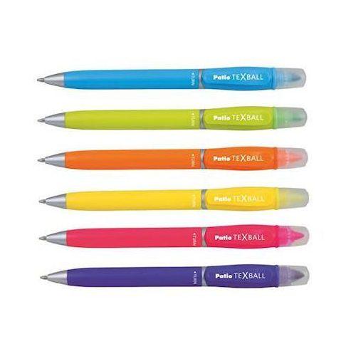 Długopis Patio Texball z zakreślaczem różowy x1