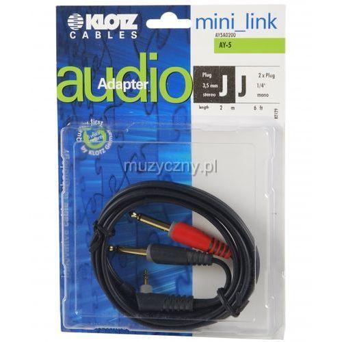 Klotz AY5 A0200 kabel mini TRS kątowy / 2xTS 2m