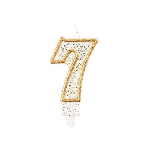 Świeczka cyferka ze złotą obwódką i brokatem - 7 - 1 szt. (5902973103847)
