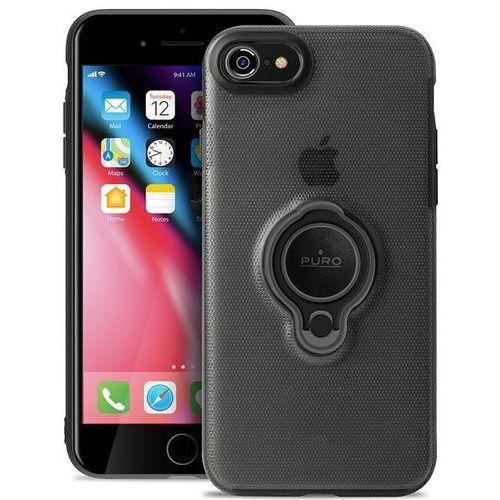 magnet ring cover - etui iphone 8 / 7 z magnetycznym uchwytem na palec (czarny) marki Puro