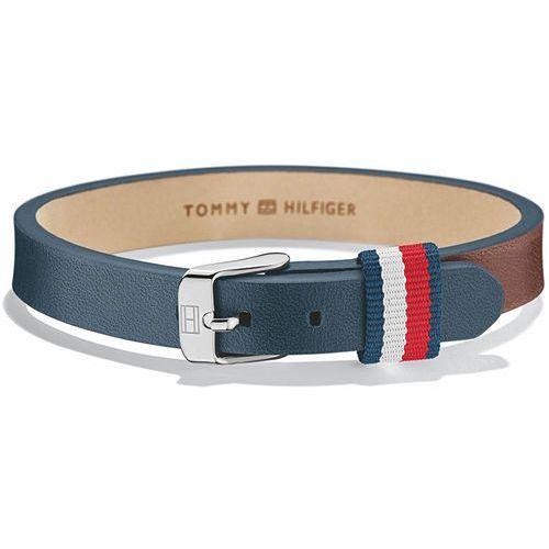 Tommy Hilfiger Niebiesko-brązowy pasek ze skóry TH2700955, kolor brązowy