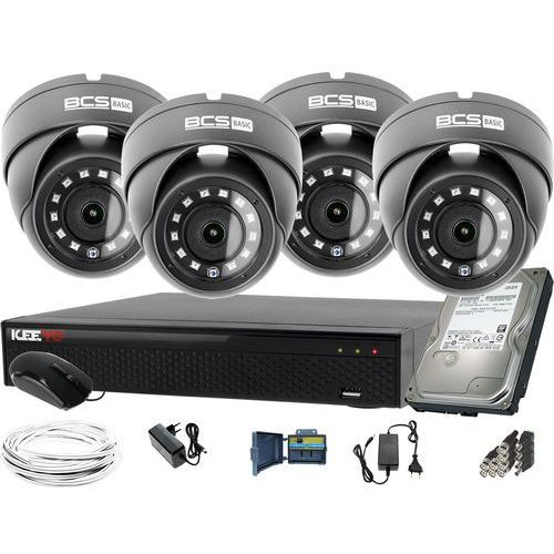 ZM12024 Zestaw do monitoringu Rejestrator LV-XVR44SE-II 4x BCS Kamera kopułowa FullHD Dysk 1TB akcesoria, ZM12024