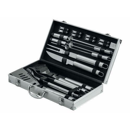 akcesoria do grillowania ze stali szlachetnej w walizce, 18 elementów marki Grillmeister