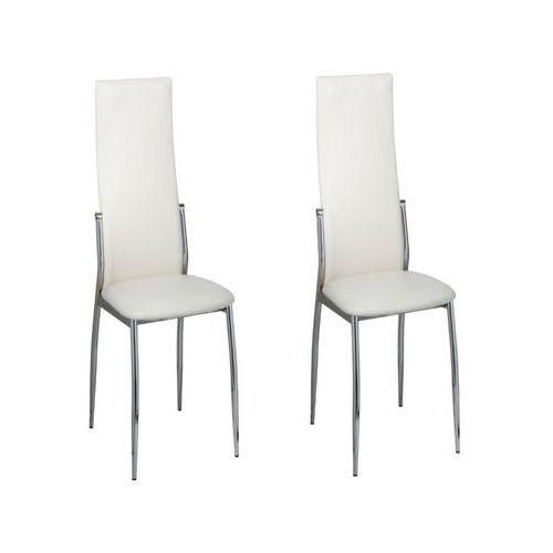 vidaXL Krzesła do jadalni ze sztucznej skóry, białe, 2 szt. (8718475809470)