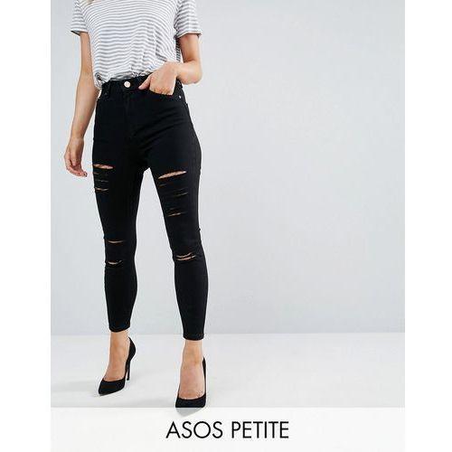 ridley high waist skinny jeans in black with shredded rips - black marki Asos petite