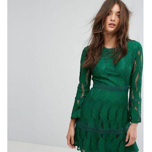 Boohoo  flare sleeve lace insert dress - green