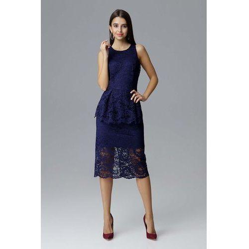 6d6c4aacd9 Figl Granatowa koronkowa dopasowana sukienka z baskinką