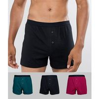 Asos design jersey boxers in burgundy green & black 3 pack - multi