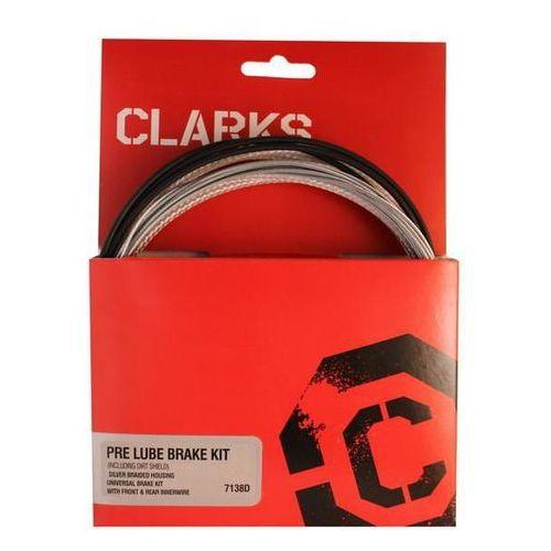 Clarks Zestaw hamulcowy clark's pre lube water carbon mtb/szosa uniwersalny + uszczelnienie pancerz srebrny karbon (5021646009153)