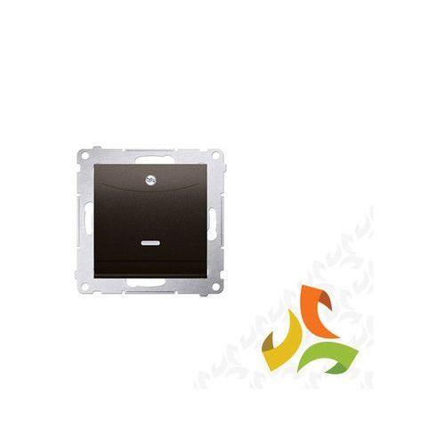 Wyłącznik hotelowy z podświetleniem. Prąd znamionowy 10 (2)A wymagane jest zastosowanie przekaźnika/stycznika brąz mat DWH1.01/46 SIMON 54 PREMIUM